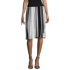 Worthington Stripe Pleated Skirt Talls