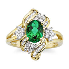 Lab-Created Emerald and White Sapphire Cluster Ring