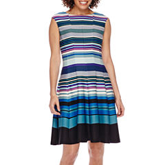 Danny & Nicole® Sleeveless Striped Colorblock Fit-and-Flare Dress