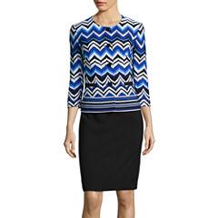 R&K Originals® 3/4-Sleeve Wavy Print Jacket & Skirt Suit Set