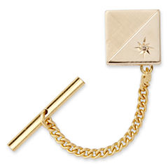 Tie Tack with Contrasting Finish and Diamond Accent