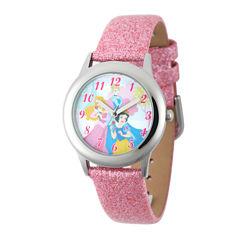 Disney Princess Kids Glitter Pink Leather Strap Watch