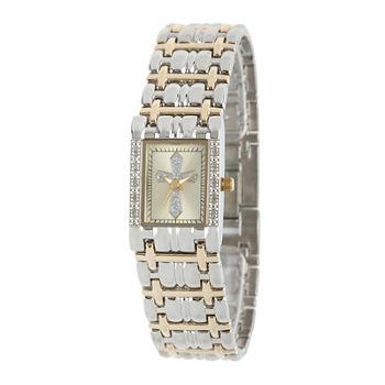 Personalized Womens Diamond accent Rectangular Two tone Cross Bracelet Watch