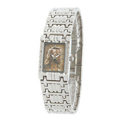 Personalized Womens Diamond-Accent Silver-Tone The Lord's Prayer Bracelet Watch