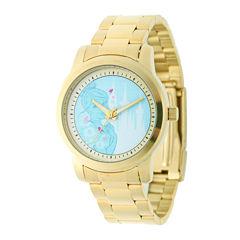 Disney Cinderella Womens Gold-Tone Stainless Steel Bracelet Watch