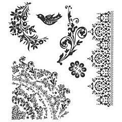 Tim Holtz® Cling Rubber Stamp Set, Floral Tattoo