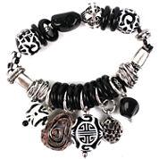 Aris by Treska Acrylic Stone Sterling Silver Stretch Bracelet