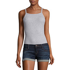 Flirtitude Sleeveless Square Neck Jersey Bodysuit-Juniors