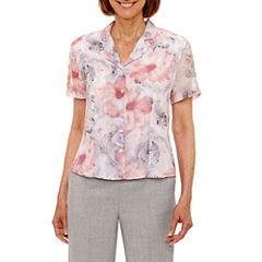 Alfred Dunner Rose Hill Short Sleeve Button-Front Shirt-Petites