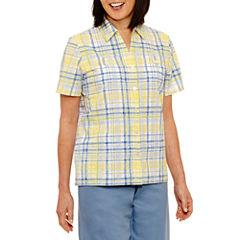 Alfred Dunner Blue Lagoon Short Sleeve Button-Front Plaid Shirt