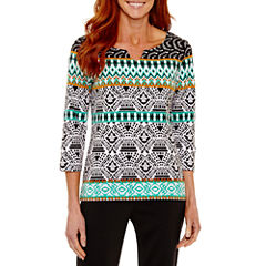 Lark Lane 3/4 Sleeve Split Crew Neck T-Shirt-Womens
