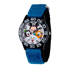 Disney Boys Mickey Mouse, Goofy, Pluto And Donald Duck Black And Blue  Tsum Tsum Time Teacher Strap Watch W003004