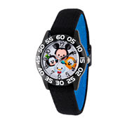 Disney Boys Mickey Mouse, Goofy, Pluto And Donald Duck Black Tsum Tsum Time Teacher Strap Watch W003005
