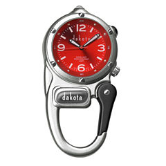 Dakota Mini Clip Microlight Carabiner, Silver and Red Pocket Watch 38590