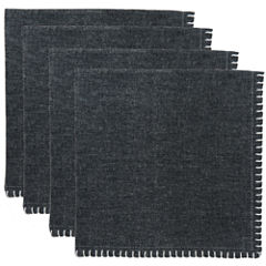 Metro Farmhouse By Park B. Smith® Chambray Set of 4 Black Crochet-Edged Napkins