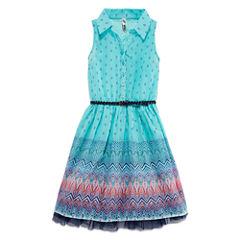 Knit Works Belted Chiffon Shirtdress - Girls' 7-16