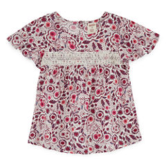 Arizona Round Neck Short Sleeve Blouse - Preschool Girls