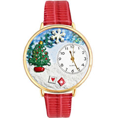 Whimsical Watches Personalized Christmas Tree Womens Gold-Tone Bezel Red Leather Strap Watch