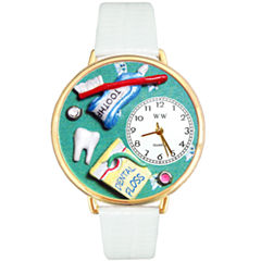 Whimsical Watches Personalized Dental Assistant Womens Gold–Tone Bezel White Leather Strap Watch