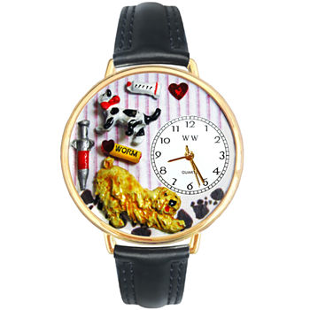 Whimsical Watches Personalized Veterinarian Womens Gold tone Bezel Black Leather Strap Watch