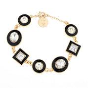 Liz Claiborne® Flex Black Crystal Gold-Tone Bracelet