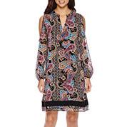 nicole by Nicole Miller® Long-Sleeve Printed Cold-Shoulder Shift Dress