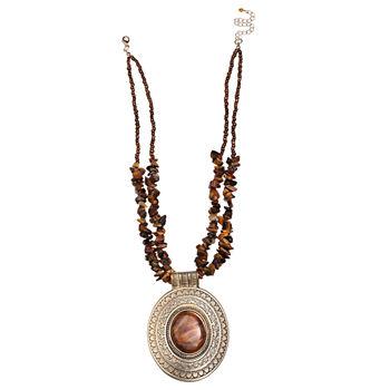Mixit Brown Pendant Necklace
