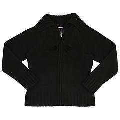 French Toast Pom-Pom Zip-Up Sweater V Neck Long Sleeve Cardigan - Big Kid