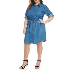 Fashion To Figure Hailey Denim Shirt Dress-Plus