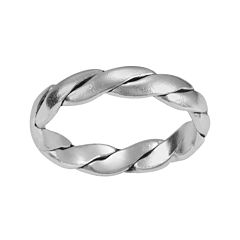 Silver-Plated Twist Band Ring