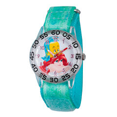 Disney Girls Green and Silver Tone Ariel and Flounder Time Teacher Strap Watch W002912