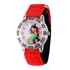 Disney Princess Girls Red and Silver Tone Mulan Time Teacher Strap Watch W002981
