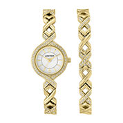 Armitron® Womens Crystal Accent Watch and Bracelet Set