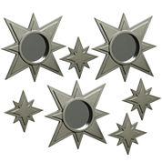 Set of 7 Gold-Tone Stars Mirror Wall Decor