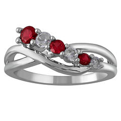 Limited Quantities! Womens Red Ruby Sterling Silver Crossover Ring