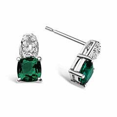 Green Emerald Sterling Silver Drop Earrings