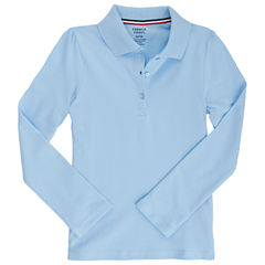 French Toast Long Sleeve Solid Knit Polo Shirt - Preschool Girls