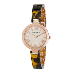 Laura Ashley Womens Tortoise/ Rose Gold Resin Link Watch La31002Tor