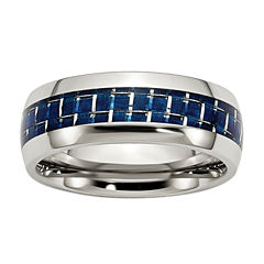 Mens 8mm Stainless Steel & Blue Carbon Fiber Inlay Wedding Band