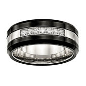 Mens Cubic Zirconia Stainless Steel & Black Ceramic Wedding Band