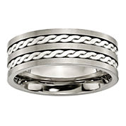 Mens 8mm Titanium & Sterling Silver Braided Inlay Wedding Band