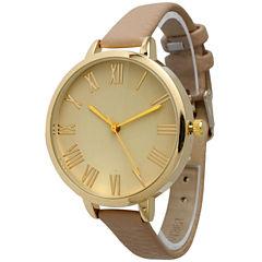 Olivia Pratt Womens Gold-Tone Beige Leather Strap Watch 14095