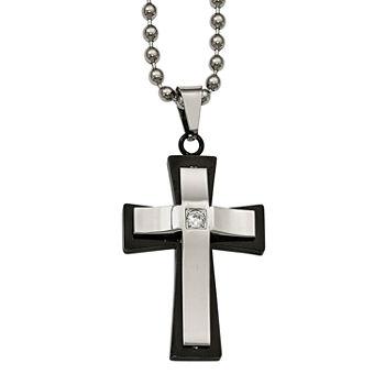 Mens Cubic Zirconia Stainless Steel Double Cross Pendant