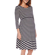 Maternity 3/4-Sleeve Skater Dress