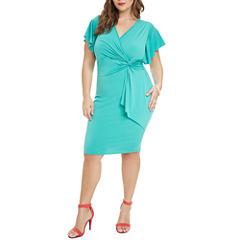 Fashion To Figure Tianna Flutter Sleeve Bodycon Dress-Plus