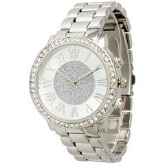 Olivia Pratt Womens Rhinestone Accent Silver-Tone Bracelet Watch 13839