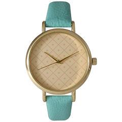 Olivia Pratt Womens Checkered Dial Mint Petite Leather Watch 14543