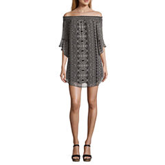 City Triangle 3/4 Sleeve Peasant Dress-Juniors