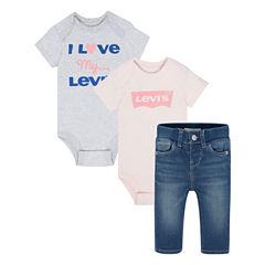 Levi's 3-pc. Bodysuit Set-Baby Girls