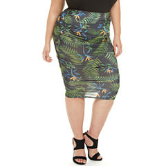 Fashion To Figure Paradise Palm Ruched Pencil Skirt-Plus